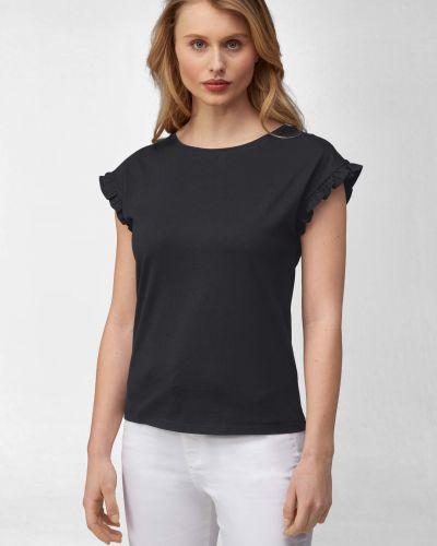 Czarny t-shirt bawełniany krótki rękaw Orsay