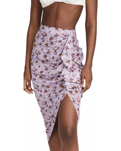 Fioletowa spódnica w kwiaty bawełniana Veronica Beard