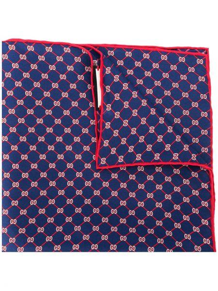 Шелковый синий платок Gucci