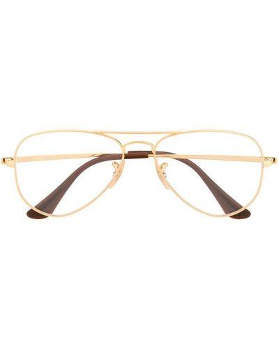 Золотистые желтые очки авиаторы металлические Ray Ban Junior
