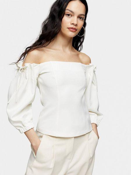 Блузка с открытыми плечами белая весенний Topshop