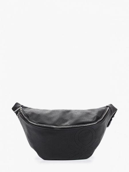 Кожаная сумка поясная черная United Colors Of Benetton