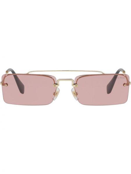 Прямые желтые солнцезащитные очки металлические Miu Miu Eyewear