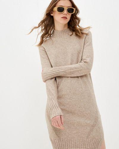 Бежевое трикотажное вязаное платье Zarina