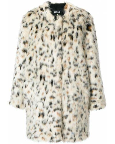 Белое пальто леопардовый Msgm