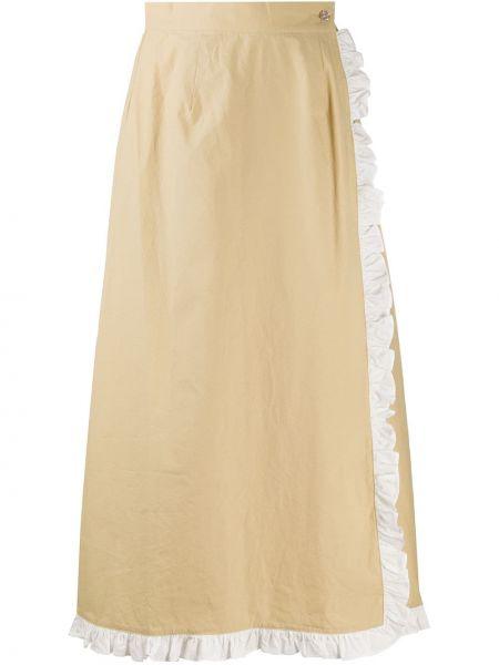 Хлопковая с завышенной талией юбка с запахом с оборками Marysia