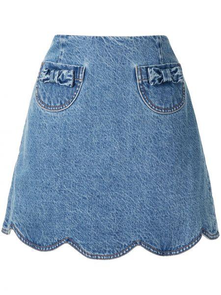 Хлопковая синяя с завышенной талией джинсовая юбка на молнии Alice Mccall