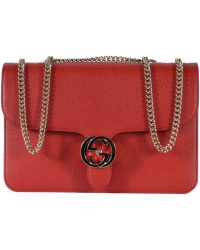 Czerwona torba na ramię skórzana Gucci
