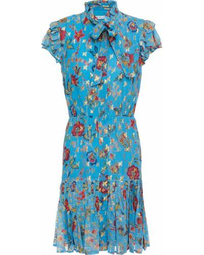 Плиссированное синее платье мини с подкладкой Derek Lam 10 Crosby