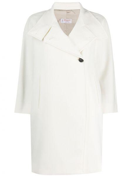 Шерстяное белое длинное пальто с воротником Alberto Biani
