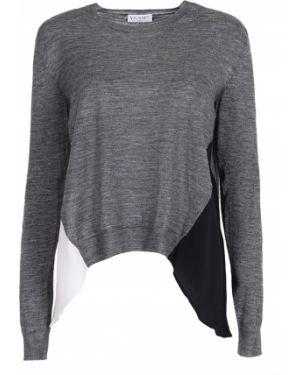 Шерстяной черный свитер на пуговицах с круглым вырезом Vionnet