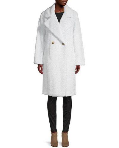 Черное длинное пальто двубортное из искусственного меха Dkny