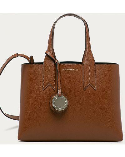 Brązowa torba z krótkimi uchwytami Emporio Armani