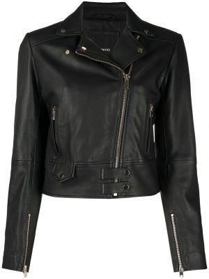 Черная кожаная куртка байкерская Pinko
