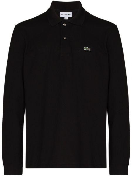 Черная классическая рубашка с длинными рукавами с воротником Lacoste