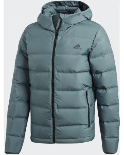 Бесшовная зеленая пуховая деловая куртка Adidas