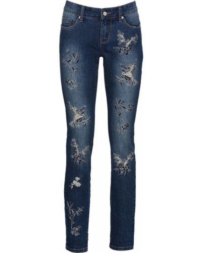 Потертые джинсы-скинни с вышивкой Bonprix