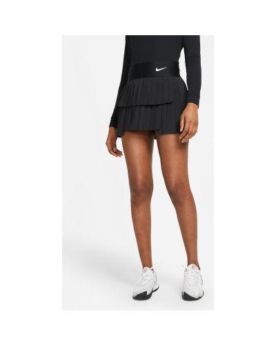 Теннисная плиссированная черная юбка-шорты Nike