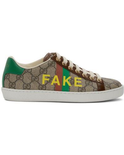 Brezentowy zielony skórzane sneakersy na sznurowadłach okrągły nos Gucci