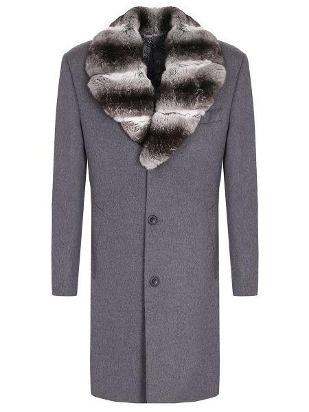 Серое длинное пальто с воротником на пуговицах с карманами Castangia