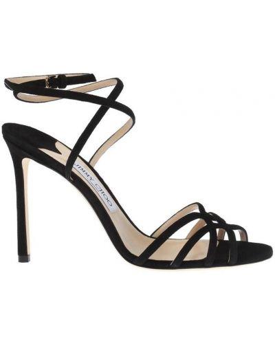 Czarne sandały skorzane Jimmy Choo