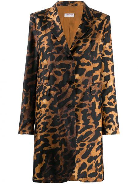 Коричневое длинное пальто с капюшоном с воротником Alberto Biani