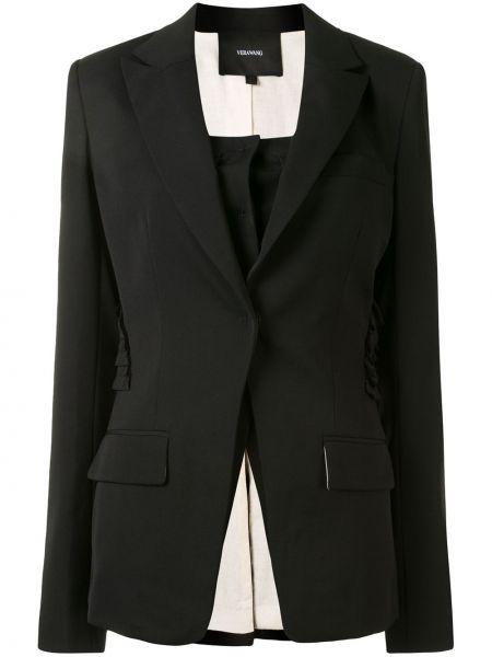 Однобортный черный пиджак с карманами Vera Wang