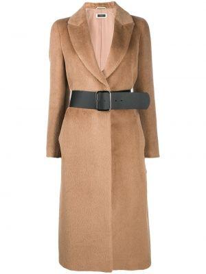 Brązowy płaszcz wełniany z długimi rękawami Peserico