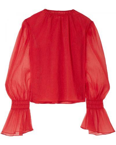 Шелковая блузка с декольте с манжетами Beaufille