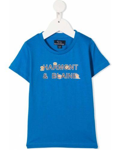 Прямая хлопковая синяя футболка с короткими рукавами Harmont & Blaine Junior