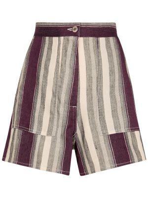 Ватные льняные шорты в полоску Loewe