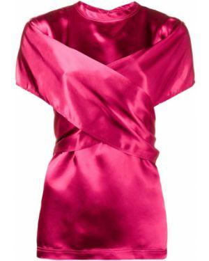 Блузка с коротким рукавом розовая с запахом Sies Marjan