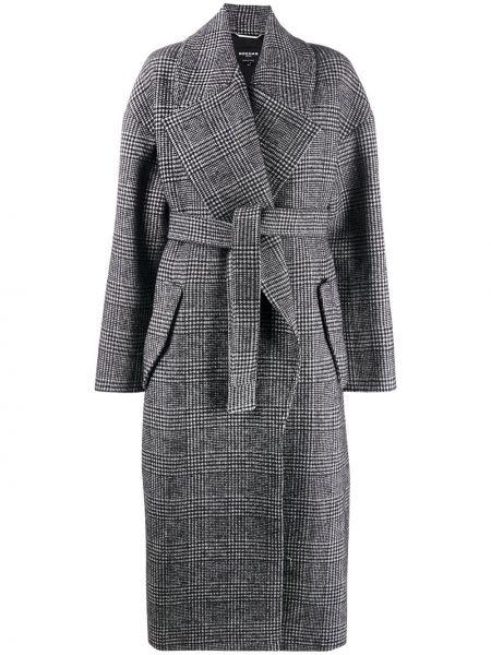Черное шерстяное длинное пальто свободного кроя с карманами Rochas