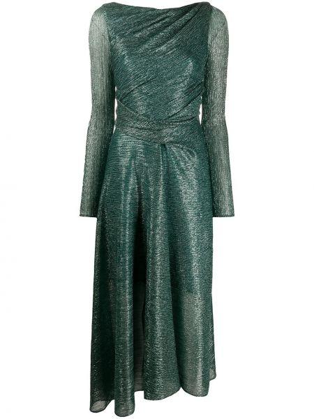 Зеленое вечернее платье прозрачное с вырезом металлическое Talbot Runhof