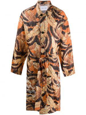 Оранжевое длинное пальто с поясом с воротником на молнии Cmmn Swdn