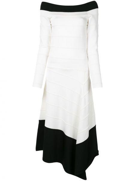 Белое асимметричное платье миди в рубчик с вырезом Amanda Wakeley