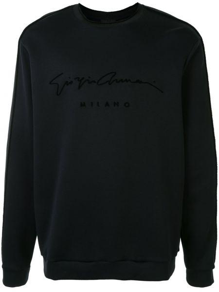Czarna bluza z długimi rękawami z printem Giorgio Armani