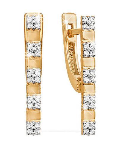 Золотые серьги с бриллиантом кюз дельта