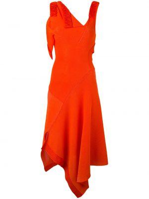 Красное расклешенное платье из вискозы Victoria Beckham