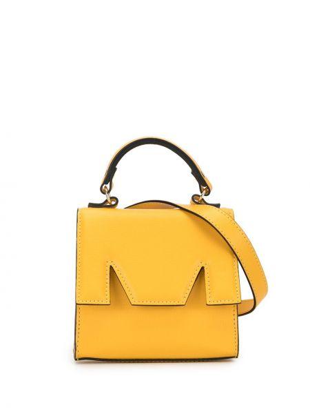 Żółty pasek skórzany z paskiem Msgm
