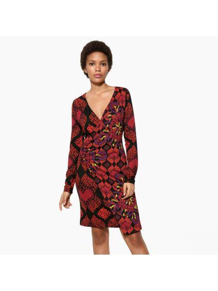 Платье мини с цветочным принтом с длинными рукавами прямое Desigual