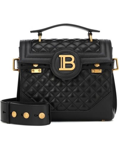 Skórzana torebka na ramię czarna Balmain