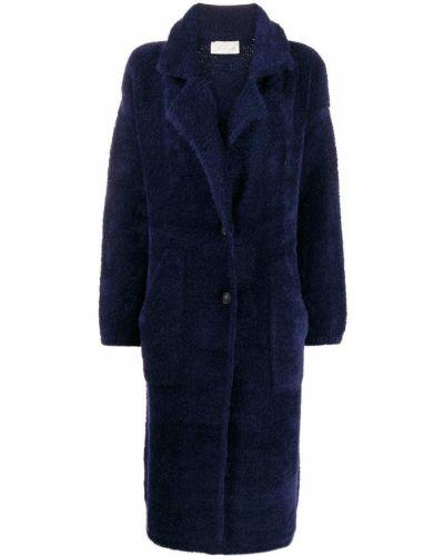 Однобортное синее длинное пальто с воротником Chiara Bertani