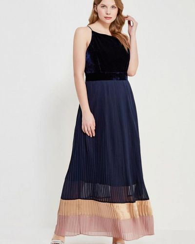 Платье макси осеннее синее Lost Ink Plus