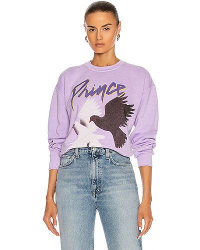 Fioletowa bluza dresowa bawełniana z printem Madeworn