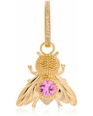 Różowe złote kolczyki ze złota z diamentem Yvonne Leon Paris