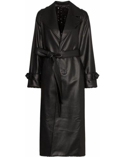 Кожаное коралловое длинное пальто с поясом с воротником Anouki