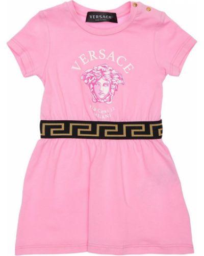 Różowa sukienka bawełniana z printem Versace
