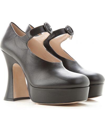 Skórzany czarny skórzany sandały Miu Miu