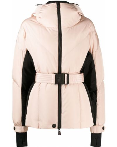 Розовая пуховая куртка на молнии Moncler Grenoble